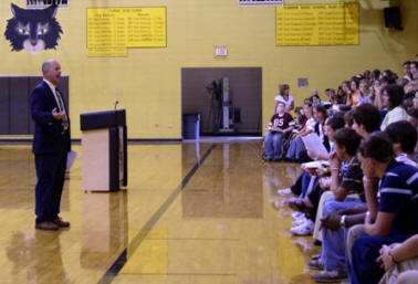 Mr. Jones addresses students on the first day of school.
